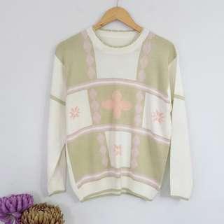 Vintage Colorblock Pastel Color Sweater Top Blouse