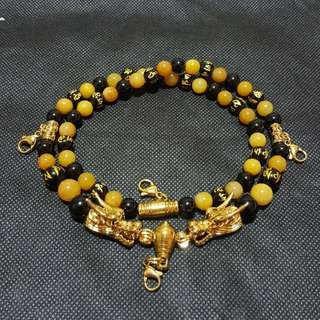 Nice quality Om Mani Padme Hum beads, Yellow Jade , Black Onyx with 2 Gold Plated Dragon Head 4 hooks necklace