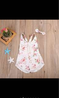 Baby girl kid romper infant toddler flower summer