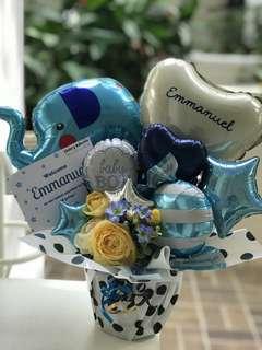 Balloon arrangement gift for Baby boy