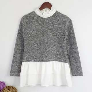[RESERVED] Gray with White Frill Sweater Longsleeve Blouse