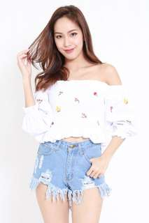 Embroidery Smocked Off Shoulder Top ( WHITE )