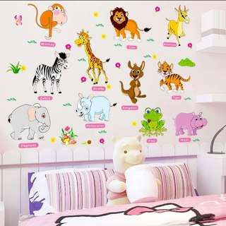 Cartoon Small animal English stickers Kindergarten children room puzzle early education wall stickers Home decor