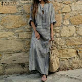 Cotton V neck Long sleeve vintage Maxi split dress. PO