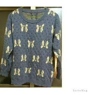 🚚 ★日系藍紫色點點蝴蝶結羊毛毛衣(100%)冬日禦寒必備
