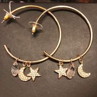 金色耳環 Swarovski hoop earrings