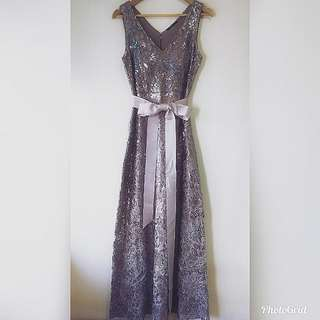 🆕EVENTS Long Wedding Dress Lace Sequins Bow Party Dress Ball Gown 珠片 喱士 緍紗 晚禮服 宴會
