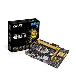 Asus H81M-A Intel® Socket 1150 HDMI, DVI & VGA Micro-ATX with USB 3.0