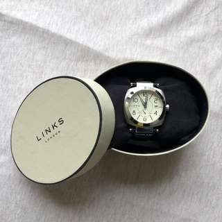 Links Contour Stainless Steel Watch with Leather