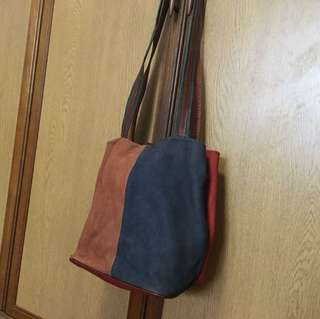 Vintage genuine leather multi colored tote bag