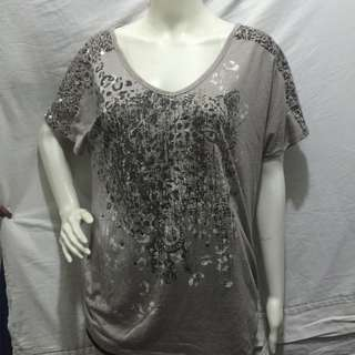 STYLE & CO brown printed with shoulder sequined plus size ladies tshirt blouse xl