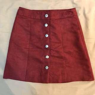 ✨全新 紅色麂皮短裙