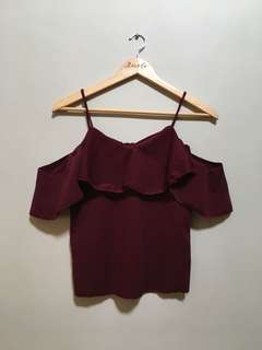 Off Shoulder Sleeveless Top (Maroon) • S-M