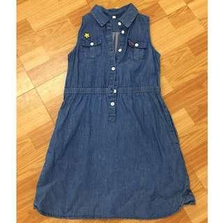 Lativ 女童 無袖連身排釦 牛仔口袋洋裝