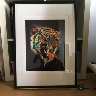 Tiger print of artwork w ikea frame