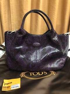 正品 Authentic TOD'S Snake Skin Handbag 紫色蛇皮手袋