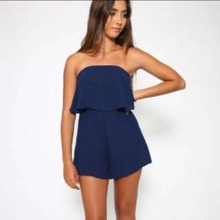 Navy Strapless Playsuit