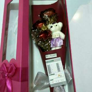 Valentines Day 3 24K Gold Red Rose + Bear Bouquet Inside The Gift Box