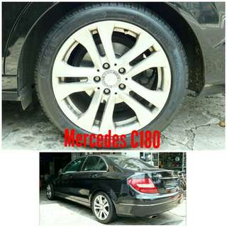 Tyre 225/45 R17 Membat on Mercedes C180 🙋♂️ Price for reference only