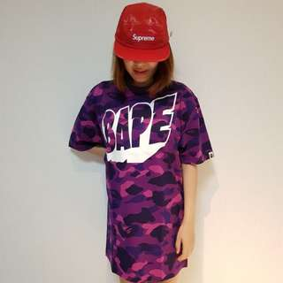 A BATHING APE Ladies' COLOR CAMO BIG TEE