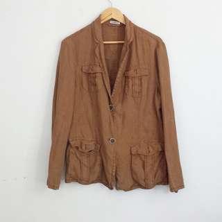 Brown Linen Cargo Jacket