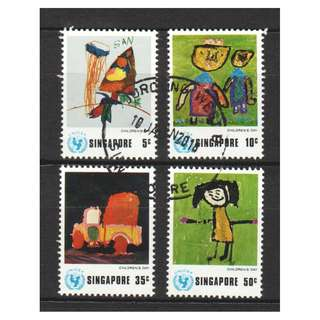 SINGAPORE 1974 UNICEF CHILDREN'S DAY COMP. SET OF 4 STAMPS IN FINE USED CONDITION