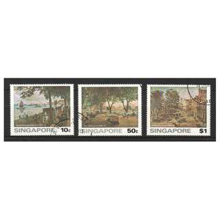 SINGAPORE 1976 ART SERIES - PAINTINGS OF OLD SINGAPORE COMP. SET OF 3 STAMPS IN FINE USED CONDITION