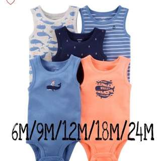 Brand New Carter's 5-Pack Tank Top Bodysuits For Baby Boy