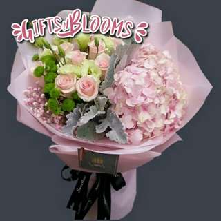 Fresh Flower Bouquet Anniversary Birthday Flower Gifts Graduation Roses Sunfowers Baby Breath -  38BF2