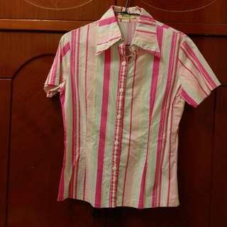 換物 ✔   直條紋粉紅休閒正式襯衫