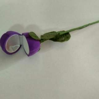Elegant Purple Rose Ring Box Jewelry - Purple Colour Ring Box Size 4cm X 4cm X 4.5cm, Length of rose stand 19cm