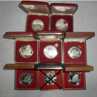 7x Singapore Unc $10 Proof Coin