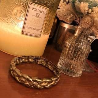 🚚 金色鎖鏈纏繞扭結手環 鬆緊