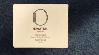 Apple - Apple Watch Series 3 (GPS + Cellular), 42mm Space Gray Aluminum Case with Gray Sport Band - Space Gray Aluminum