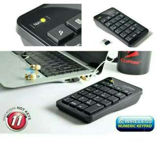CLIPTEC WIRELESS NUMPAD NUMERIC KEYBOARD NUMERIK KEYPAD - RZK222