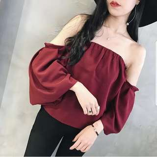 Blogger Off Shoulder Red Sweet Top