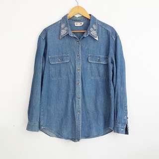 Vintage Style Soft Denim Button Down Longsleeve Top