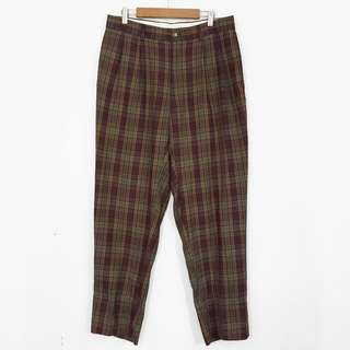 L-XL Plaid High-Waisted Straight Leg Pants