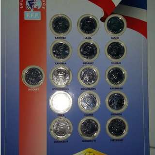 Rare France 1998 Official 16 Coin Medal Collection Euro WC Soccer Jersey Zidane Jersey