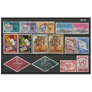 Malaya-Malaysia 1958-1969 7 complete sets of issues used <Set 6>