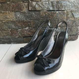 AUTHENTIC Joan & David: Black Peep Toe Wedges