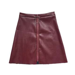 Faux leather A-line skirt in burgundy