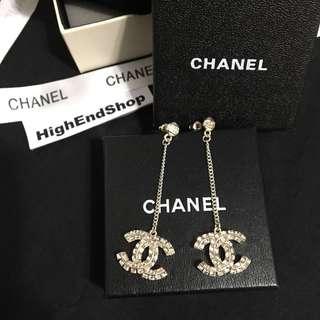 Chanel耳環 大鑽 淺金/銀色