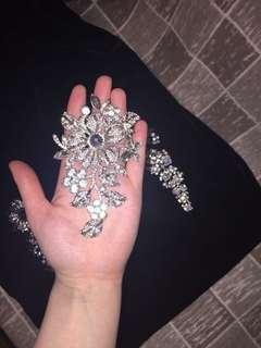 Gorgeous large shiny brooches