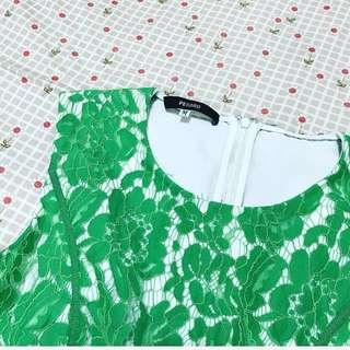 設計師品牌百貨專櫃PESARO 鏤空雕花裝飾綠色洋裝#換季五折