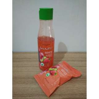 Love Nature Exfoliating Soap Bar & Shower Gel Refreshing Strawberry & Lime