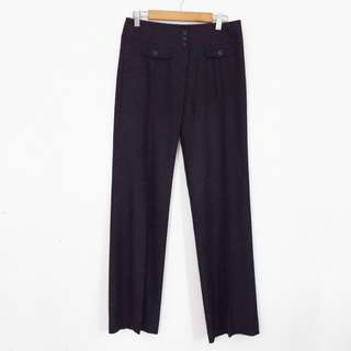 M-L COUR CARRE Vintage Style Front Pocket High-Waisted Pants