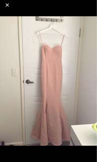 Elle zeitoune blush pink strapless mermaid ball dress / prom formal dress
