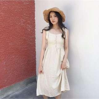 🚚 復古韓國chic風 小清新純色 白色綁帶連衣裙 排扣 中長裙