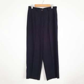 L-XL Vintage Style Dark Blue Wide Leg High-Waisted Ankle Pants